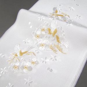 刺繍半衿(半襟)・白/金 鶴に松竹梅 結婚式 成人式 卒業式...