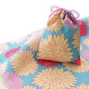 エコクロス-風呂敷(ふろしき)×巾着セット-菊 風呂敷二巾(70cm幅)  巾着 20×15cm 手...
