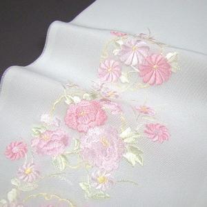 刺繍半衿(半襟)・白/色 雪輪に菊と牡丹 結婚式 成人式 卒...