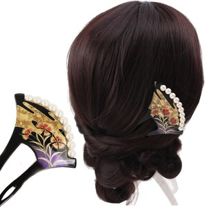 バチ型パール簪(かんざし)霞に撫子  髪飾り 結婚式 和装 ...