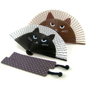 扇子 扇子 女性用 猫ミーニャ(扇子袋付き)   和柄 女性用 母の日 プレゼント 名入れ可|rakuichi-kimono