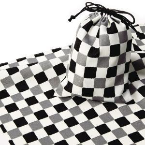 エコクロス-風呂敷(ふろしき)×巾着セット- 市松 風呂敷二巾(70cm幅)  巾着 20×15cm...