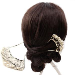 螺旋パールビーズ簪(かんざし)  髪飾り 結婚式 和装 着物...