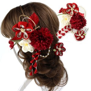 つまみ細工髪飾り 梅・マム 赤  髪飾り 花 結婚式 成人式...