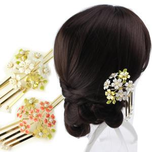 桜ビラ簪(かんざし) 白/赤  髪飾り 結婚式 和装 着物 ヘアアクセサリー 黒留袖 フォーマル 成...