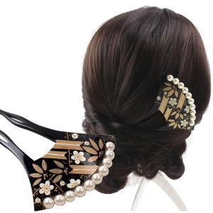 バチ型パール簪(かんざし)竹に梅  髪飾り 結婚式 和装 着...