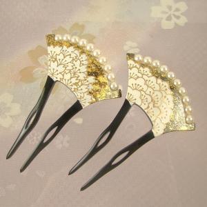 バチ型パール簪(かんざし)桜/梅  髪飾り 結婚式 和装 着...