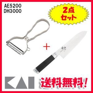 ◆メーカー:貝印 ◆品名:関孫六 ダマスカス 三徳包丁 165mm・T型ピーラー ◆品番:AE520...