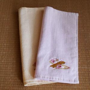 刺繍タオルハンカチ(花筏)|rakusaicollection