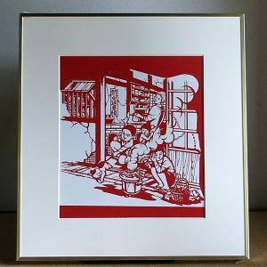 【送料無料!】額 色紙(切り絵)【炭とマキ】|rakusaicollection