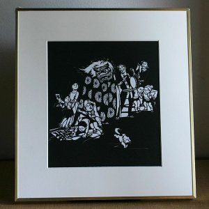 【送料無料!】額 色紙(切り絵)【獅子舞い】|rakusaicollection