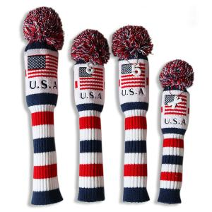 ★税込★CRAFTSMANクラフトマンニット ゴルフヘッドカバー 手編み アメリカ風 1#3#5#UT 4枚入り|rakushogolf