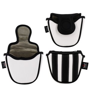 CRAFTSMAN(クラフトマン)パターカバーユベントスファン向け イタリア風 ゴルフヘッドカバー レザー製 たて縞黒白 バージョンアップ rakushogolf