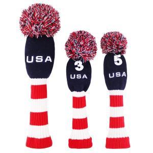 ヘッドカバー ゴルフウッドカバー ニット WOOD用HeadCover 手編み アメリカ風 1#3#5#用 3枚セット USA|rakushogolf