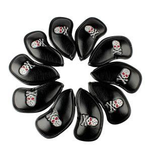 ヘッドカバー アイアンカバー Iron Cover 高級合皮スカルキングシリーズ&シンプル風10枚入り