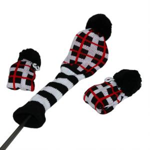 ニット ゴルフヘッドカバー 手編み ブロックシリーズ 1#3#5#用 ブラック/ホワイト|rakushogolf