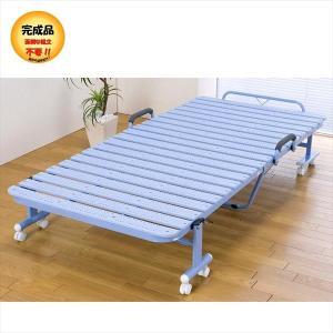 ベッド ベット 折り畳みベッド 折りたたみベッド おりたたみベッド シングル 折りたたみ 抗菌樹脂すのこベッド 完成品|rakusouya