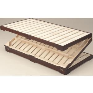 ※10月下旬入荷分ご予約※シンプル ベッド シングル 桐 三つ折り スノコベッド 完成品 rakusouya