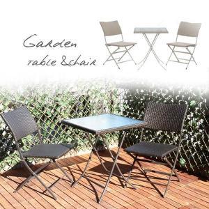 庭 ベランダ 屋外 アウトドア アジアンリゾートスタイル PEラタンフォールディングチェア + テーブル 3点セット sd3160874|rakusouya