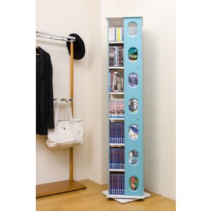棚 収納ラック CDラック 本棚 DVD 単行本 文庫本 ゲームソフト 回転式コミックラック7段 ブルー 青 rakusouya