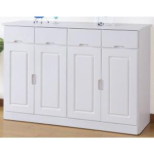 食器棚 カップボード キッチンキャビネット キャスター付き 100cm 完成品 ホワイト rakusouya