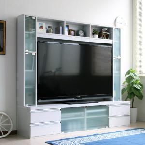 ※10月上旬入荷分ご予約※テレビ台 幅180cm ハイタイプ ガラス扉 60インチテレビ対応 ホワイト rakusouya