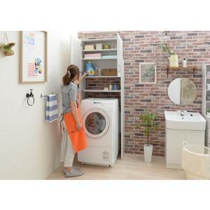 洗濯機 洗面収納 ナチュラルカントリー ホワイト 天井突っ張りラック|rakusouya