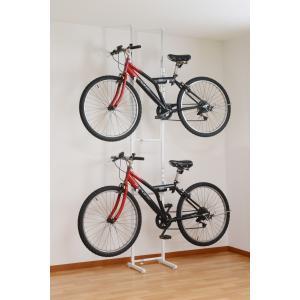 自転車ラック 天井突っ張り 室内保管用  2台収容 壁掛け rakusouya