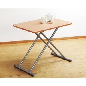 リフティングテーブル 5段階高さ調節昇降 幅65cm 木製 完成品 rakusouya