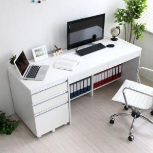 書斎 事務 文机 本棚 引出 ホワイト鏡面120cm チェストの写真