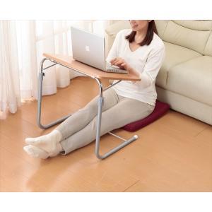 サイドテーブル 小型テーブル 角度調整付折りたたみテーブル(補強バー付)|rakusouya
