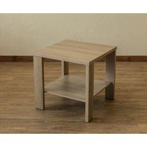 サイドテーブル ナチュラルカントリー 50cm正方形 ライトブラウン|rakusouya