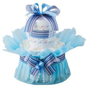 おむつdeケーキ一段 ブルー-10d...