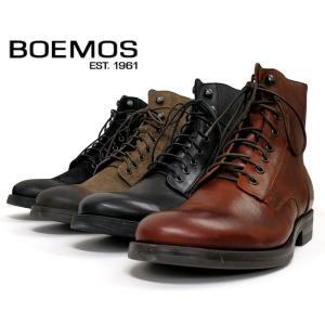 BOEMOS ボエモスレザー/スエード サイドジップ レースアップ ワークブーツ(I6-4573) イタリア製 カジュアルシューズ メンズシューズ 紳士靴  革靴|ramblebyziema