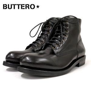 BUTTERO ブッテロサイドジップワークブーツ(B4429)ブラック SIDE ZIP レースアップ メンズシューズ レザー 革靴 紳士靴 メンズブーツ|ramblebyziema