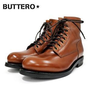 BUTTERO ブッテロサイドジップワークブーツ(B4429)ブラウン SIDE ZIP レースアップ メンズシューズ レザー 革靴 紳士靴 メンズブーツ|ramblebyziema