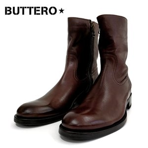 BUTTERO ブッテロ レザーサイドジップメンズブーツ 本革 カジュアルブーツ (B825)PE-CUS 3.EBONYブラウン|ramblebyziema