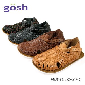 GOSH ゴッシュメンズ レザーメッシュ ウーヴン スリッポンサンダル(CASIMO) メキシコ製|ramblebyziema
