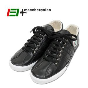 【MACCHERONIAN マカロニアン】 ローカットレザースニーカー (2215L) ブラック/ホワイト 正規品 ハンドメイド|ramblebyziema