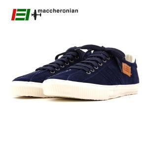 【MACCHERONIAN マカロニアン】ローカットレザースニーカー (2215S) ダークネイビー スエード 正規品 ハンドメイドスニーカー メンズシューズ 靴 紳士靴 ramblebyziema