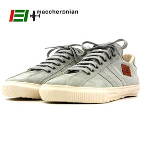 【MACCHERONIAN マカロニアン】ローカットレザースニーカー (2215S) ホワイトグレー スエード 正規品 ハンドメイドスニーカー メンズシューズ 靴 紳士靴 ramblebyziema