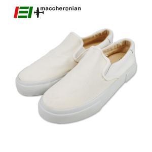【MACCHERONIAN マカロニアン】ナイロンメッシュ×キャンバス×レザースリッポン (4012FC) ホワイト ramblebyziema
