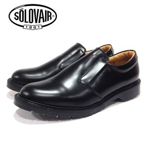 【SOLOVAIR (ソロヴェアー/ソロベアー)】 スリッポンシューズ ブラック SLIPON BLACK  メンズシューズ 革靴 カジュアル 紳士靴 ramblebyziema