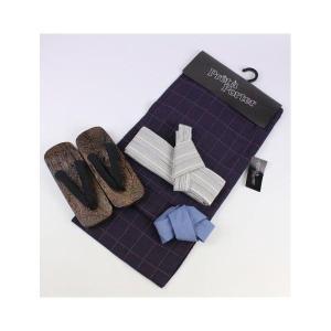 夏浴衣(M/L/LLサイズ)・帯(綿麻作り帯)・下駄・腰紐の4点セット 12MY-9|ran
