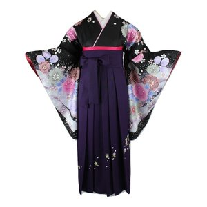 二尺袖 5点セット 14FK-12-5s 着物・刺繍袴(紫)・重ね衿・ショート丈長襦袢・おまかせ帯 From KYOTO ブランド 絵羽柄 ran