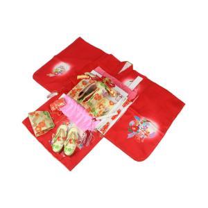 正絹 三つ身 絵羽柄 着物 MHK-5 お仕立上り 長襦袢 結び帯とハコセコ 志古貴 帯揚げ フルセット 日本製 赤に桜|ran