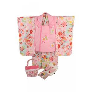 七五三 3歳〜4歳用 被布コート7点セット SiK-5 レトロ市松柄 ピンク色(ピンク被布コート)|ran