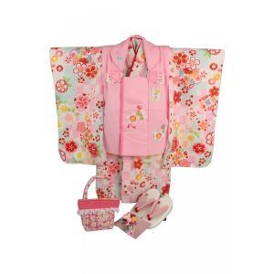 七五三 3歳〜4歳用 被布コート7点セット SiK-6 レトロ市松柄 ピンク色(ピンク被布コート)|ran