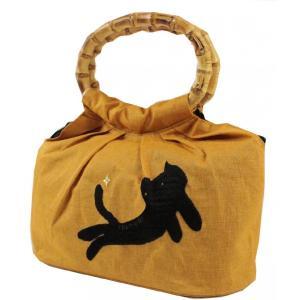 ツモリチサト 巾着 バッグ猫柄  7t-133 黄色 ran