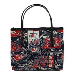 和柄 バッグ 横型 手提げ トートバック WG-14 日本製 花和小紋|ran